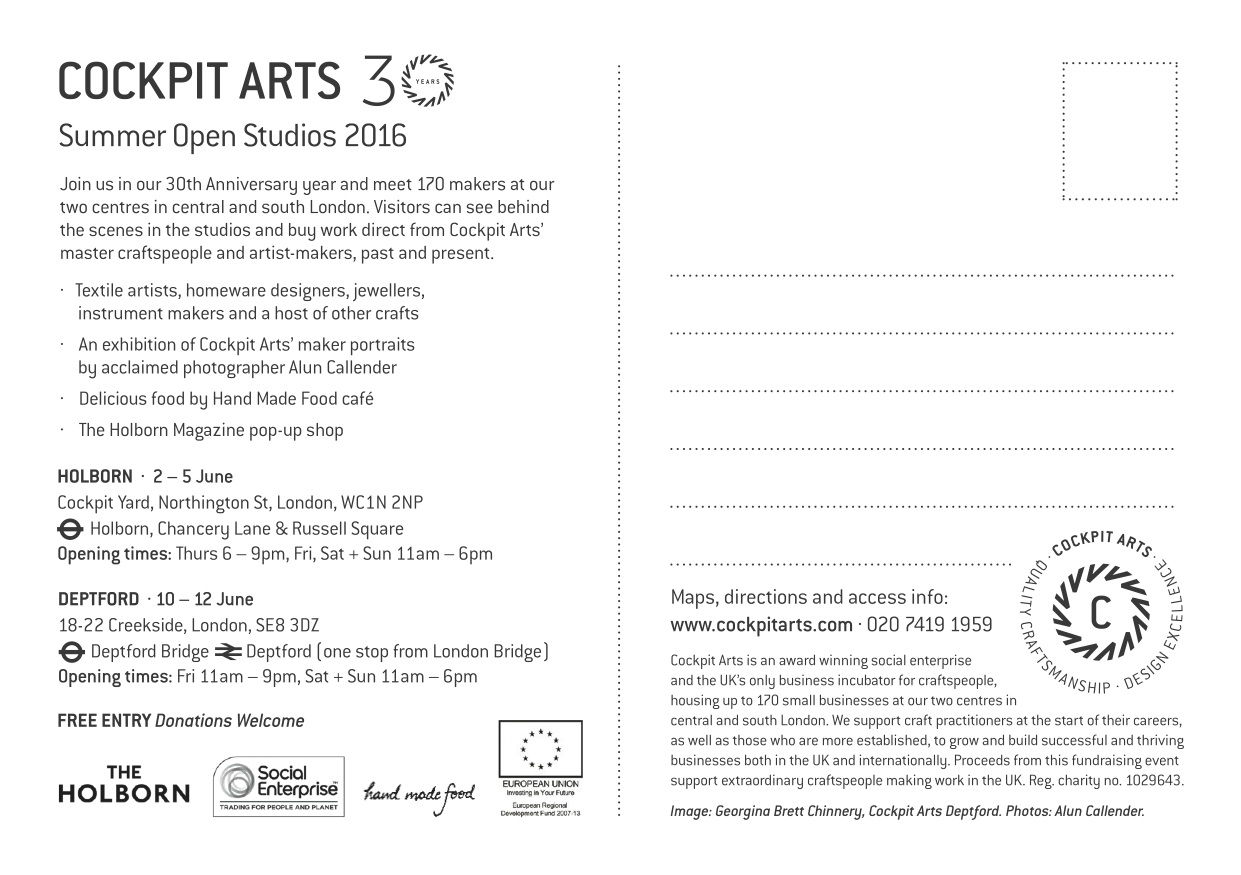Summer Open Studios flyer 2016